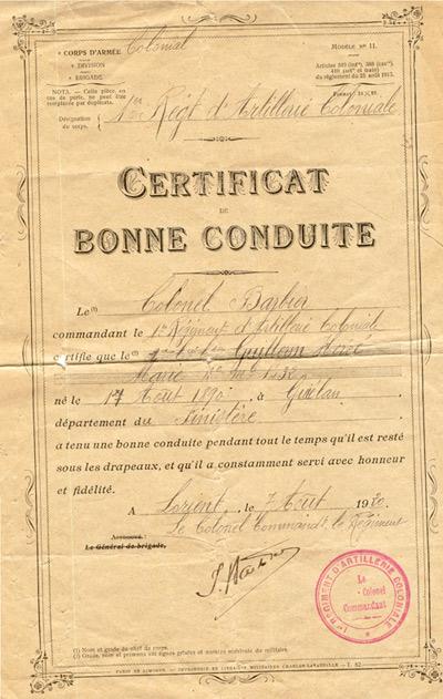 Certificat de bonne conduite délivré le 7 août 1920 à Lorient