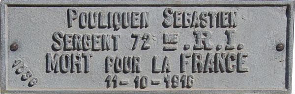 Plaque de la tombe de Sébastien Pouliquen