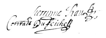 Signature de Conrad du Feichel et Perrine Rault