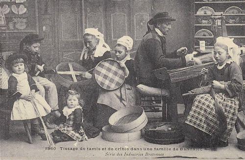 carte postale ancienne de nos ancêtres au travail