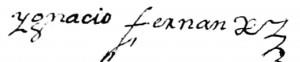 Signature d'Ignace Fernandez